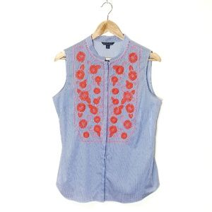 Brooks Brothers Embroidered Sleeveless Top